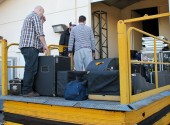 Loading gear into The Crossing Theatre